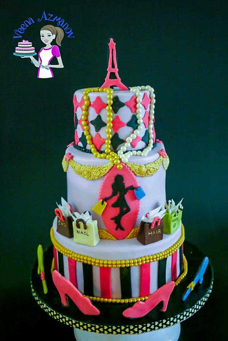 A Paris fashion theme cake is a perfect cake for a girl or lady at any age. Whether she is twenty or sixty she is bound to love fashion and nothing says fashion better than Paris. This simple, easy and effortless tutorial shares a step by step on how you can create this cake from start to finish including the gumpaste Eiffel topper, silhouette, shoes, shopping bags and pearls.