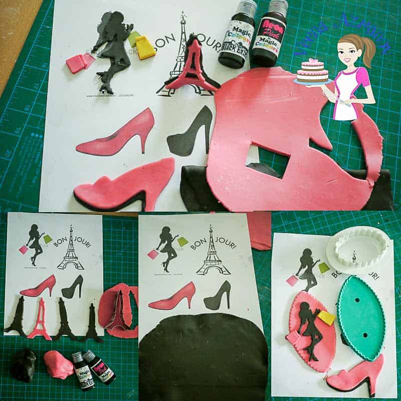 Progress pictures 1 - showing how to make the gumpaste Eiffel tower, gumpaste sugar shoes, gumpaste silhouette