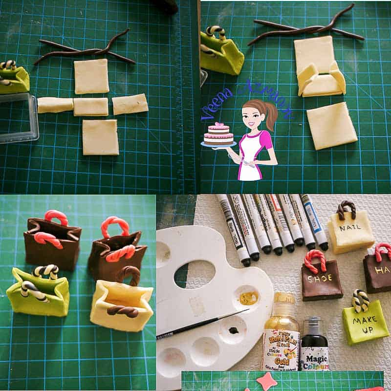 Progress Picture 2 for Paris Fashion Theme Cake - showing how to make sugar shopping bags with modeling chocolate.