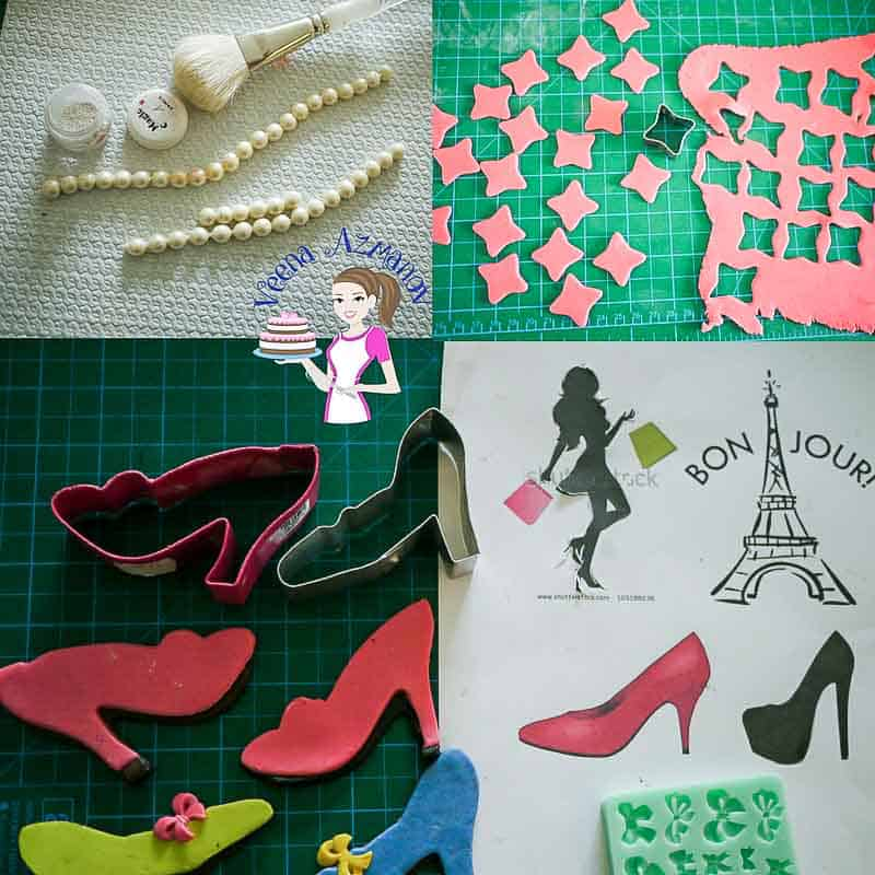 Progress Pictures 3 - Paris Fashion theme cake showing how I made the cookies shoes, sugar pearls, and 3 D shapes