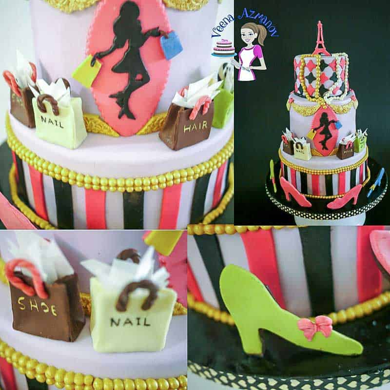 Close up shots of the Paris Fashion Theme cake featuring the shopping bags, silhouette, sugar shoes