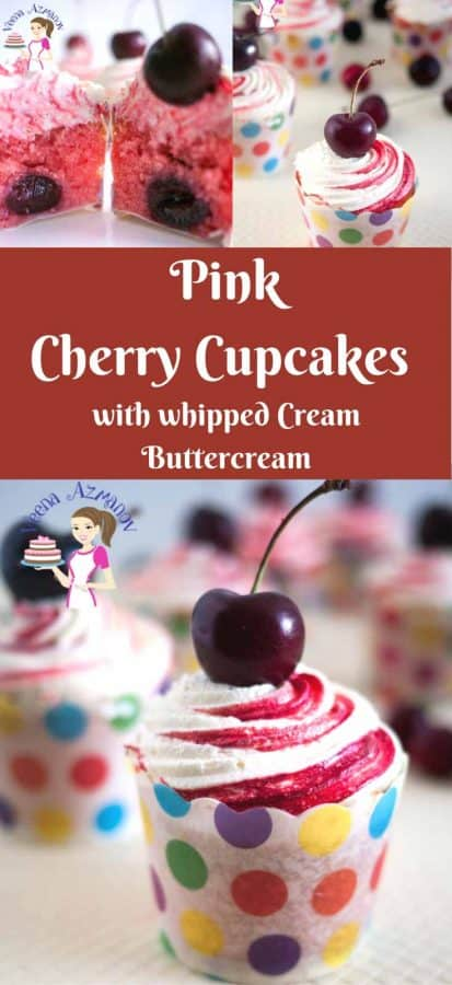 These Pink Cherry Cupcakes are so simple to make with a cherry flavor batter, a quick cherry filling, topped with my light whipped cream buttercream and adorned with a cheery on top.