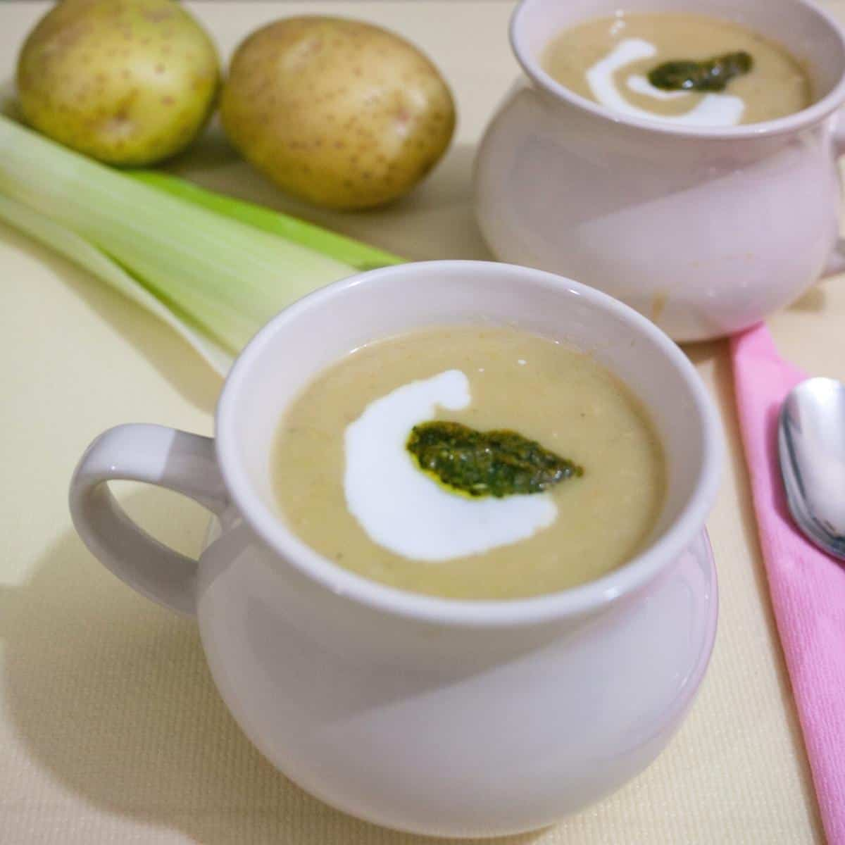 A cup of leek and potato soup.