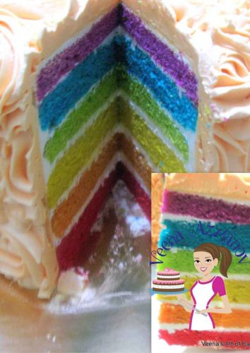 Simple and Easy Rainbow Cake Recipe Veena Azmanov