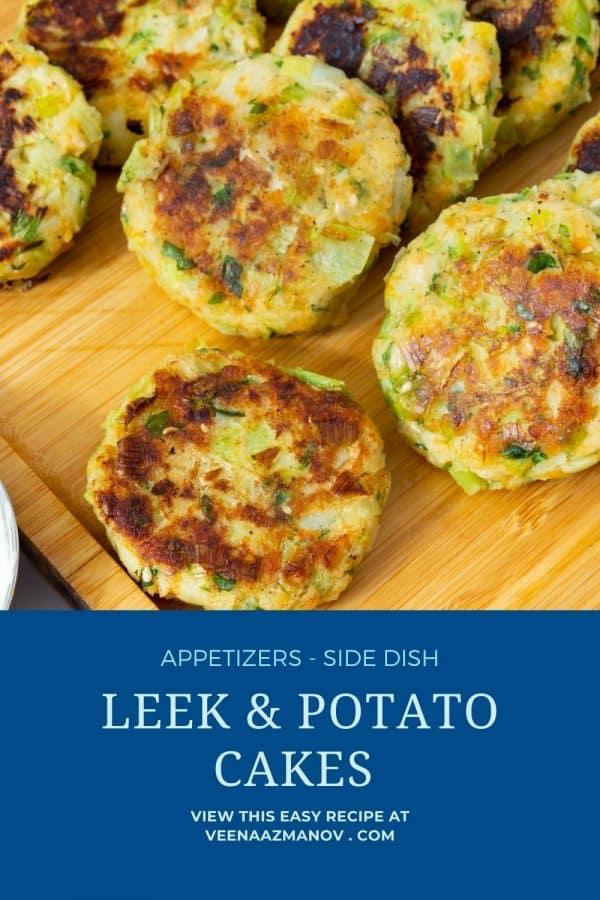 Pinterest image for leek and potato patties.