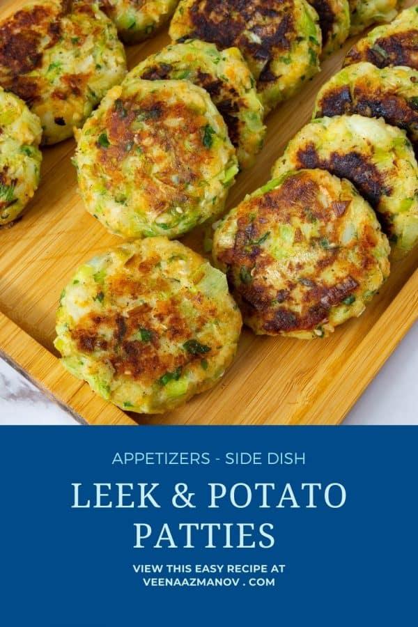 Pinterest image for potato leek patties.