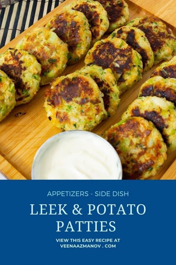 Pinterest image for leek potato patties.