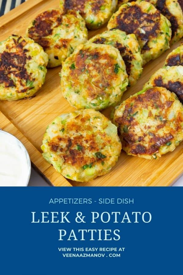 Pinterest image for leek and potato cakes.