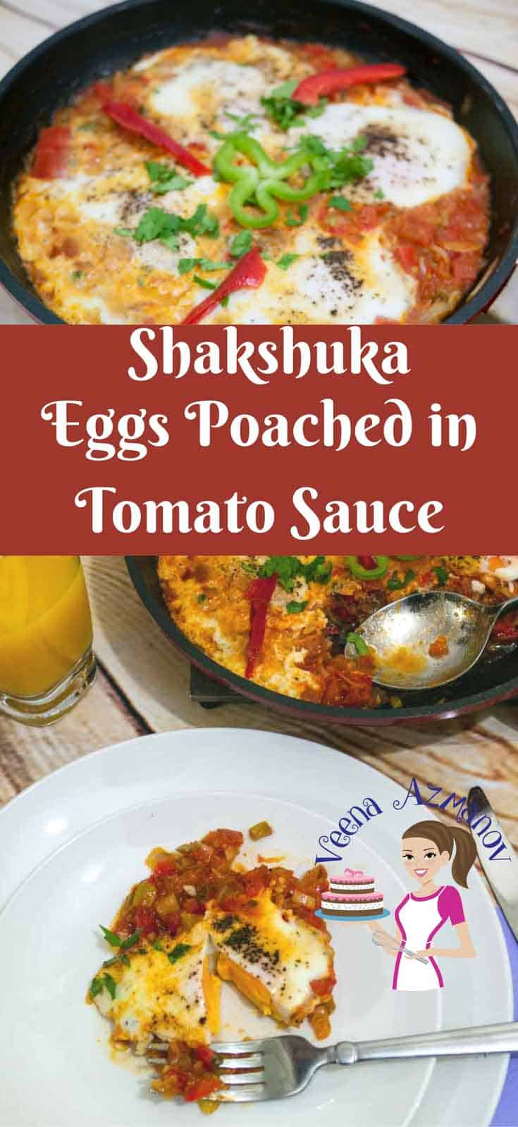 A Pinterest optimized image for our Classic Shakshuka which is egg poached in tomato sauce an Israeli or Middle Easter breakfast recipe