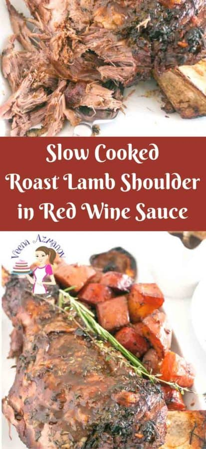 This succulent slow cooked roast lamb shoulder is cooked low and slow keeping it soft and juicy. Infused with a mixture of fresh herbs such as rosemary, theme and cilantro and some robust red wine as a result you get a delicious gravy.