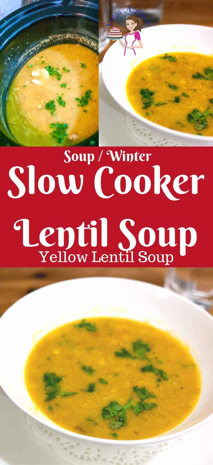 This slow cooker lentil soup is not just nutritious but hearty and flavorful. Serve it with crusty bread and a side salad for a simple week night dinner. The lentils are cooked until so soft you can barely see the grains. The fresh cilantro add so much more than just flavor. #lentil #soup #winter #comfortfood #soups #healthy #yellowlentil #souprecipes #cooking