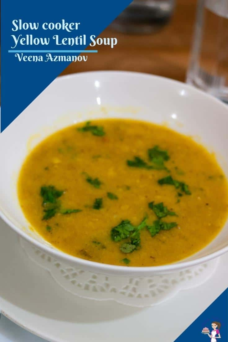 This slow-cooker yellow lentil soup is nutritious, hearty, and flavorful. Serve it with crusty bread and a side salad for a complete meal. Flavored with ginger, garlic, turmeric, and fresh cilantro this will become a family favorite very soon #slowcookersoup #yellowlentilsoup #yellowlentils #Lentilsoup #soup #lentilsoup via @Veenaazmanov