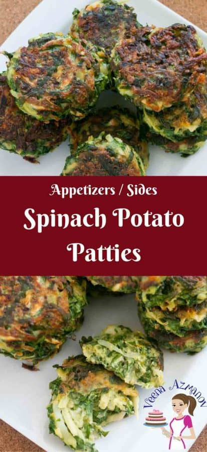 These spinach potato patties aka spinach cakes make great appetizers or side dish. Easy to make, full of nutritious greens and absolutely delicious to enjoy anytime of the year. Serve them as snack with some ketchup or sandwich them in mini burger buns for a quick veggies burger.