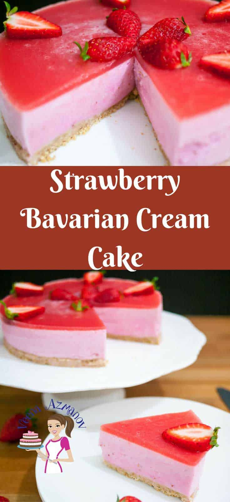 Strawberry Bavarian Cream Cake is a perfect entertaining dessert very impressive & luxurious. Made with creamy strawberry vanilla pastry that feels like velvet on the tongue. A few extra step in the making but your guest will be truly impressed.
