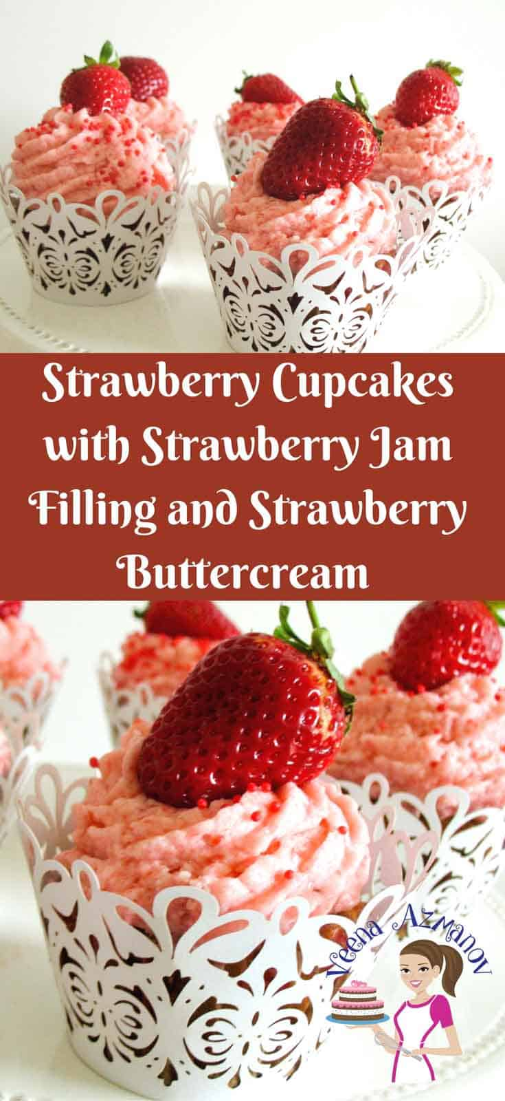 These delicious Strawberry Cupcakes are the ultimate strawberry pleasure with soft jam centers, frosted with luxurious strawberry buttercream and adorned with a fresh strawberry. These are simple, easy and my one bowl baking from scratch series you will love.