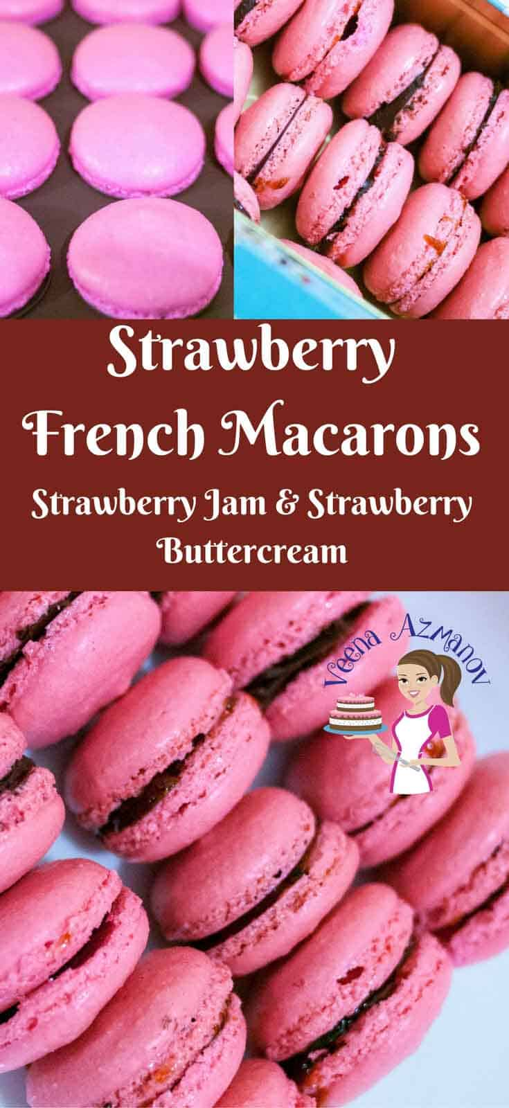 These Strawberry French Macarons are light meringue cookies that will melt in your mouth. Made with Almond meal and filled with delicious and luxurious filling from jams, curds,buttercream or ganache.
