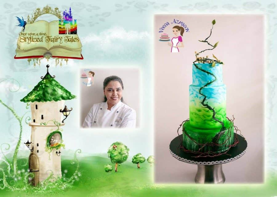 A cake decorated in a Jack and the Beanstalk theme.
