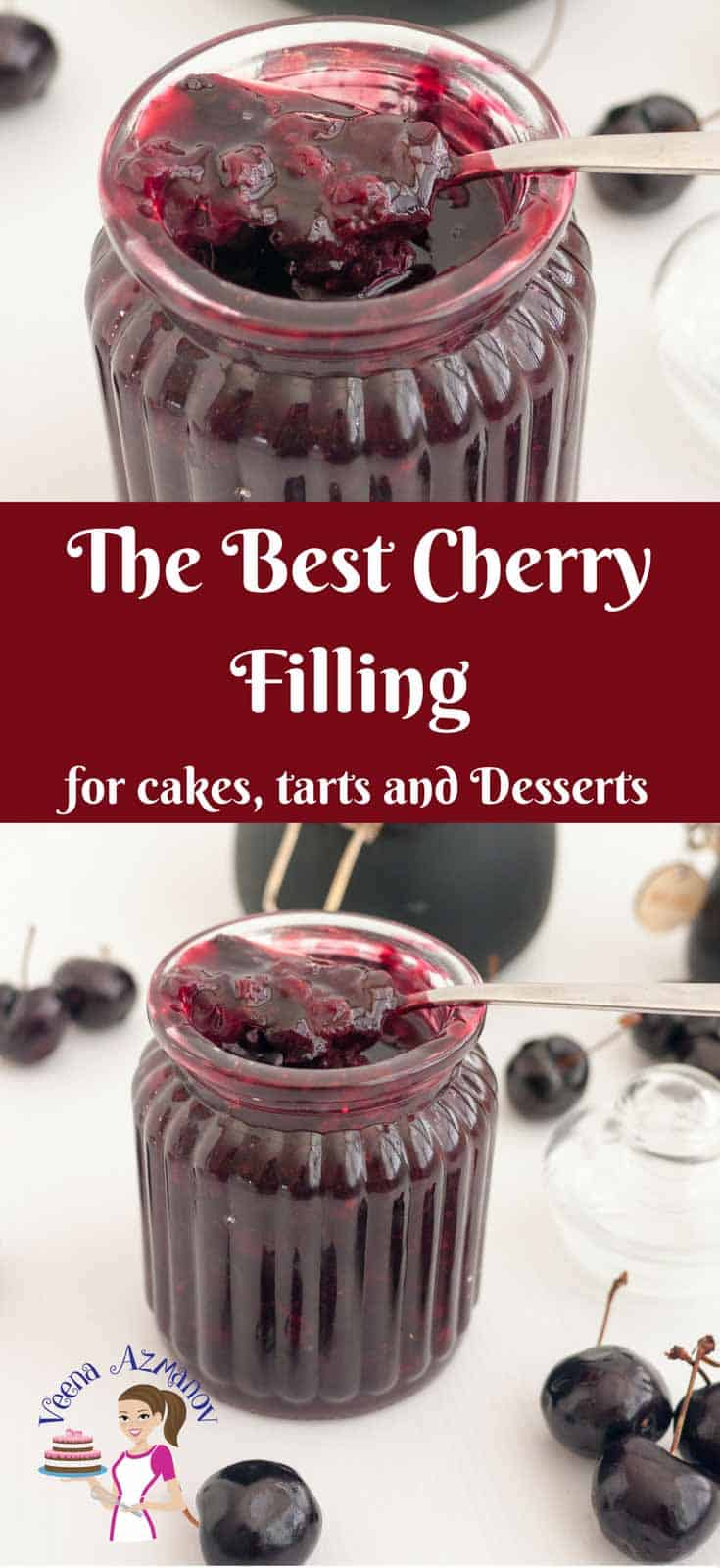 A Cherry Filling is a simple, easy and effortless recipe that gets done in minutes and is an absolute treat you can use in so many different ways. Try a spoonful over your breakfast yogurt, stack of pancakes or waffles. Layer it between cake layers as a cherry cake filling, spread it in a prebaked crust as a cherry pie filling or spoon over your favorite desserts and ice creams and cherry dessert topping.