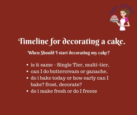 The most common question that gets asked when one has to decorate a cake - when should I decorate my cake? What is the cake decorating timeline that I can use to make sure I have a fresh cake and as well as enough time to decorate.