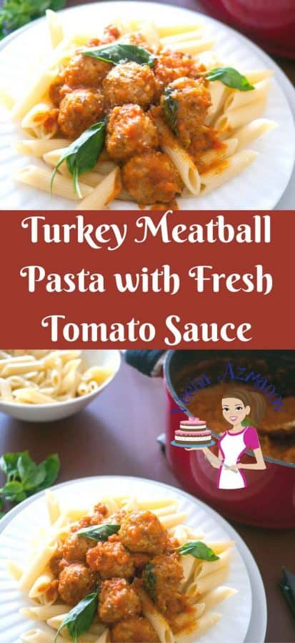 What could be more comforting than Turkey meatball pasta that is nutritious and packed with flavor cooked in a tomato sauce made with fresh wholesome seasonal tomatoes.