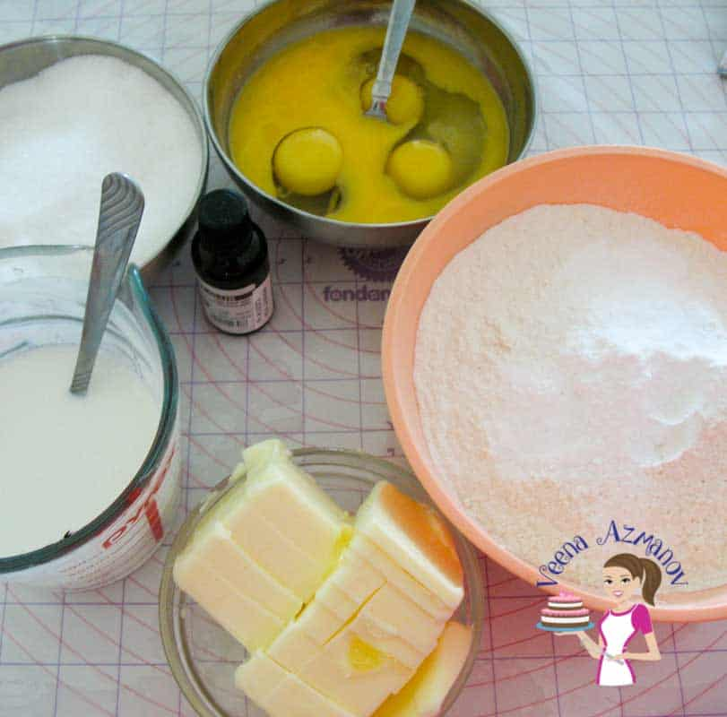 The ingredients for making a vanilla cake.