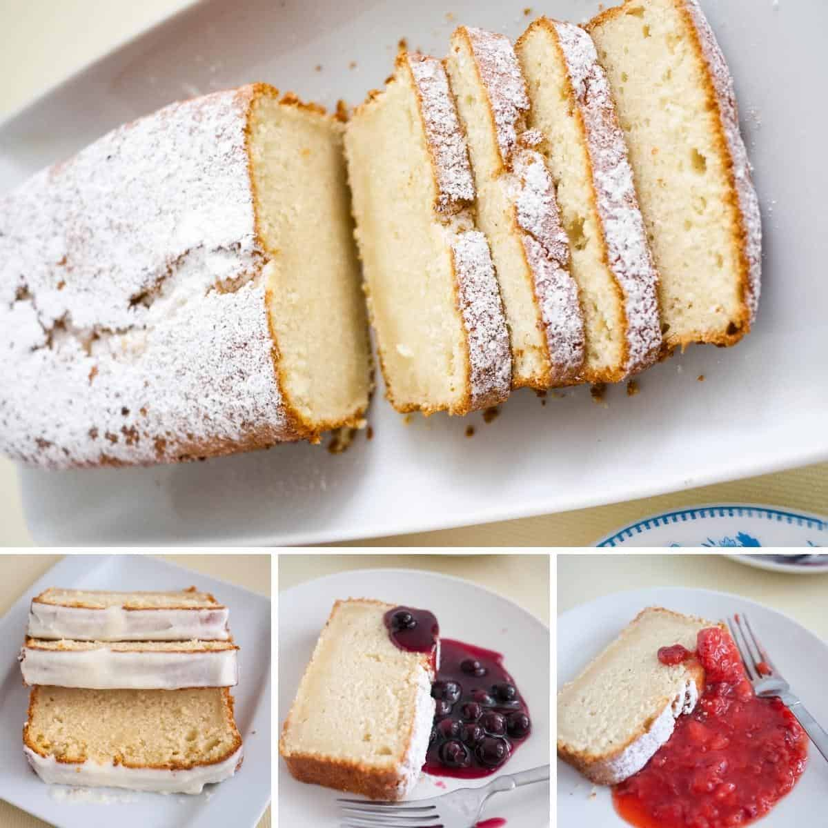Serving suggestions for vanilla pound cake.