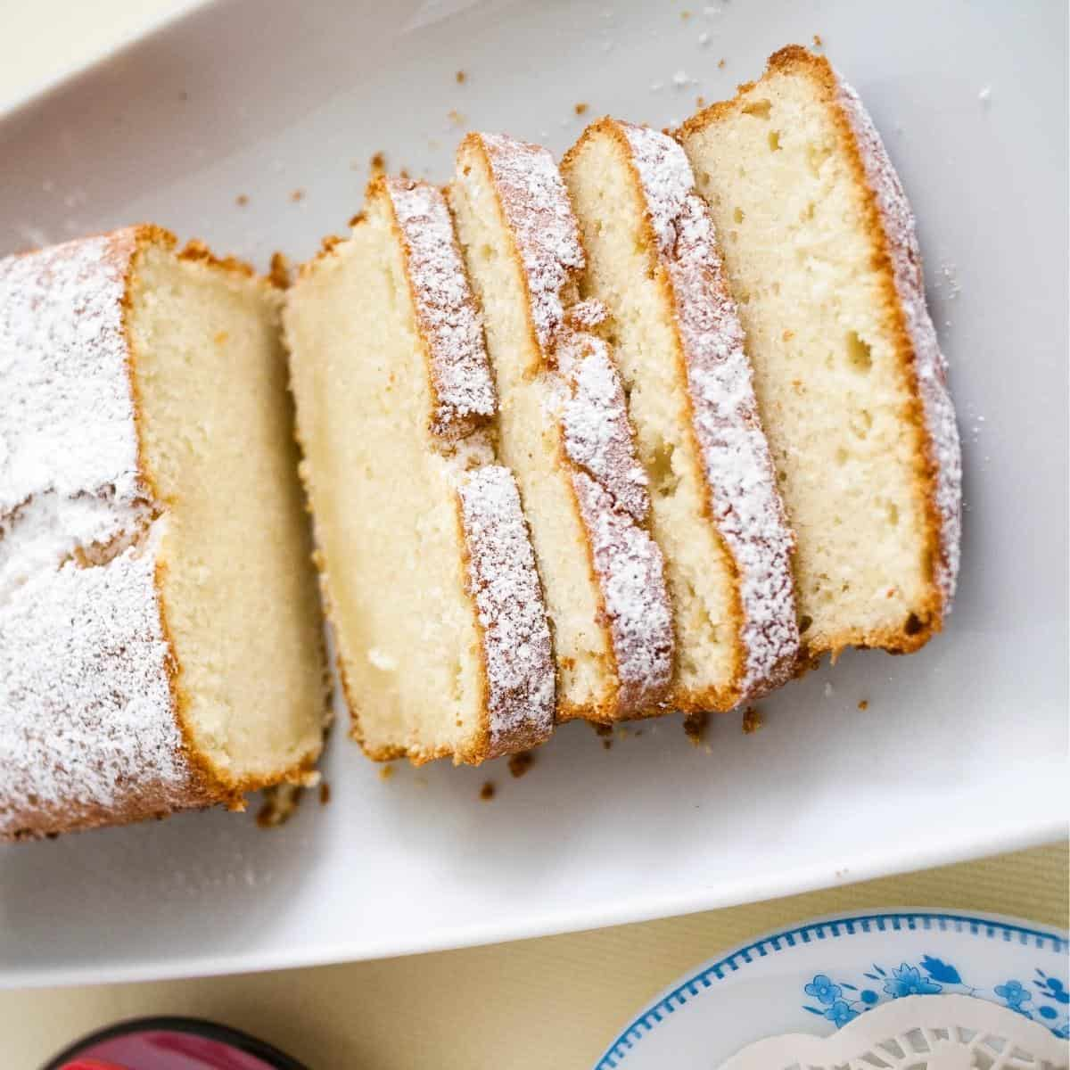 Slices of pound cake on a platter.