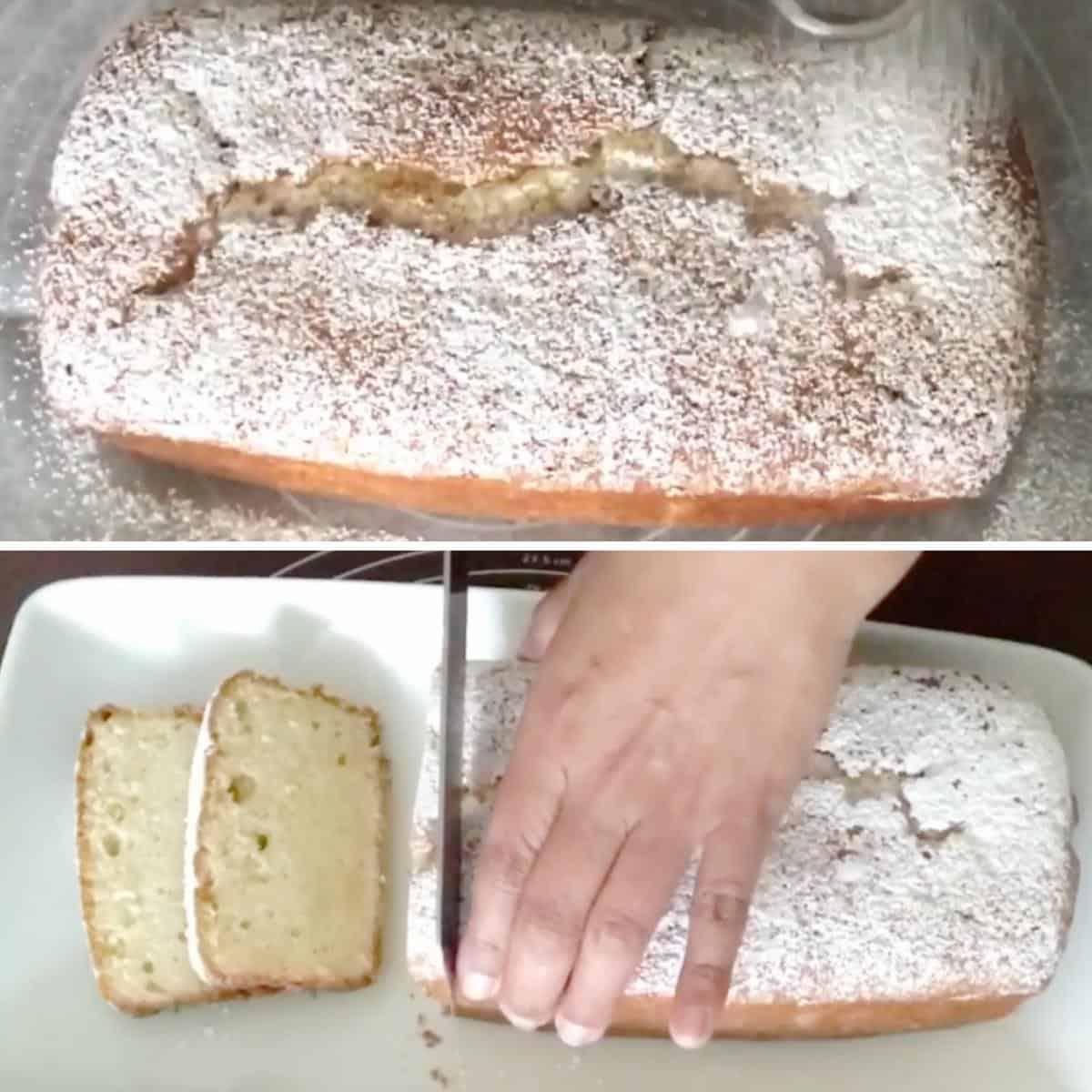 Progress pictures collage for vanilla pound cake.