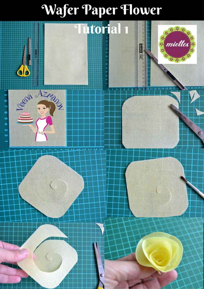 This Wafer Paper Flower Tutorial is a great way to make an edible and quick paper flower to adorn any cakes especially if you have last minute cake request. It needs no drying time plus wafer paper is as light as a feather so you can place it on the cake without any risk of it damaging your cake.
