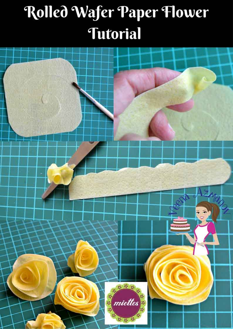 Making flowers from wafer paper.