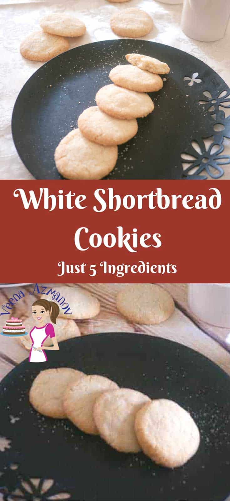 These white shortbread cookies are eggless and super easy to make. With only 5 ingredients they barely take any time to make or bake. Such a great treat any time