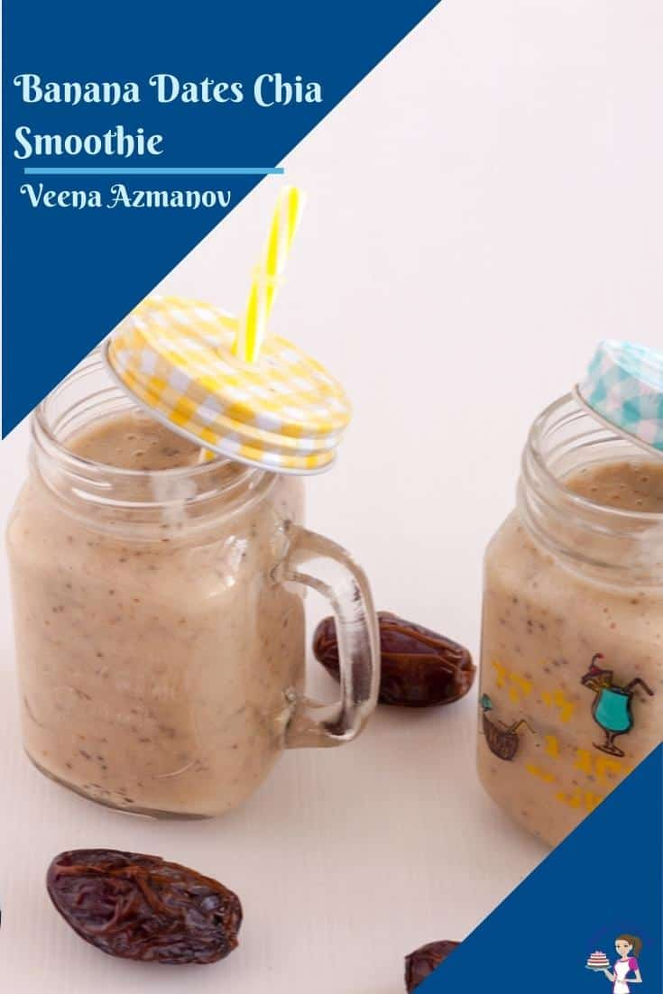 A banana date smoothie is a great way to start or end a long day. It healthy, nutritious, and wholesome bursting with energy. Whether you make it with fresh or frozen fruits, this healthy smoothie can be enjoyed all year round #bananadate #smoothie #chaismoothie #datesmoothie #bananasmoothie #banandrinks via @Veenaazmanov