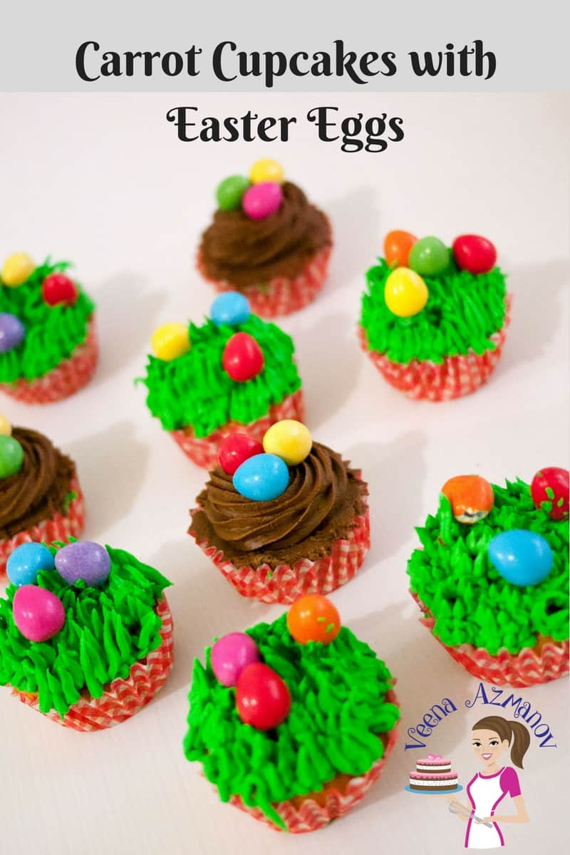 Pinterest Optimized Image for Carrot Cupcakes - these are decorated with festive Easter Eggs