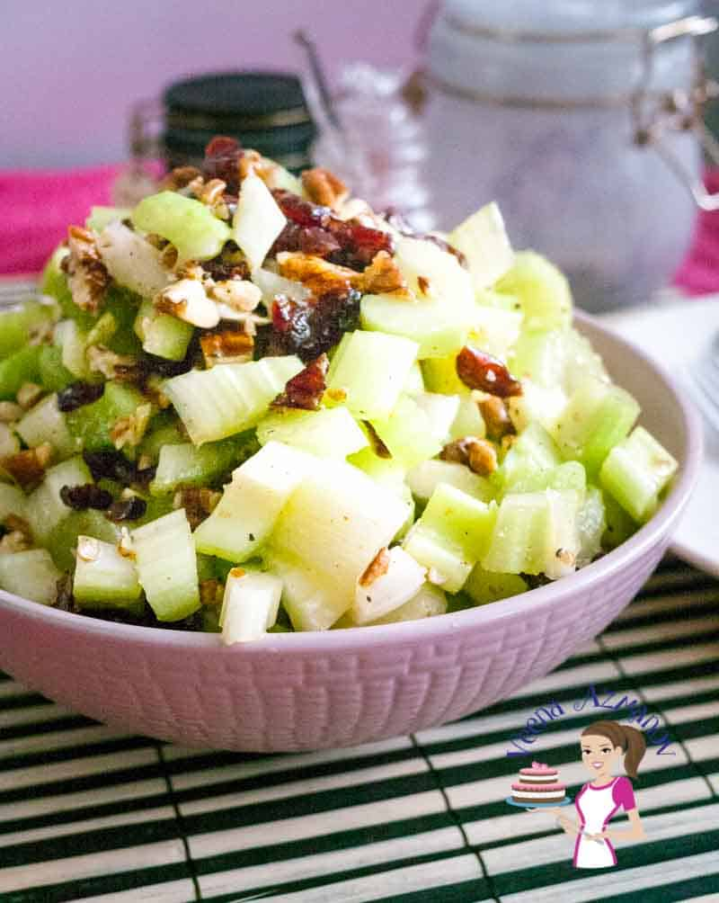 This simple and easy celery salad recipe is packed full with nutrition. Celery is a juicy vegetable and has a wonderful crunch that makes eating salad so refreshing and fun. Adding a bit of cranberries and pecan and you have a side dish everyone will crave.