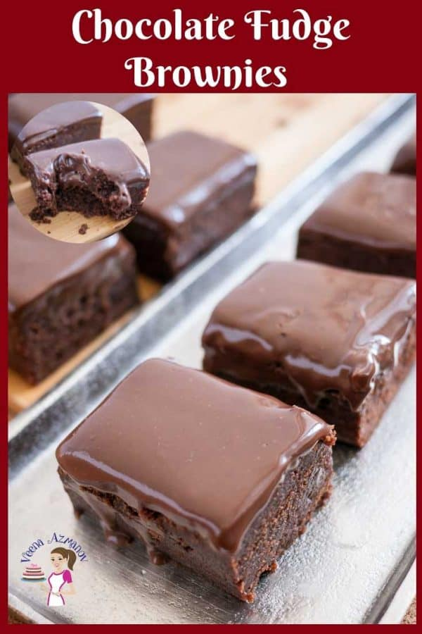 Brownies, Dark, Chocolate with fudge topping on display