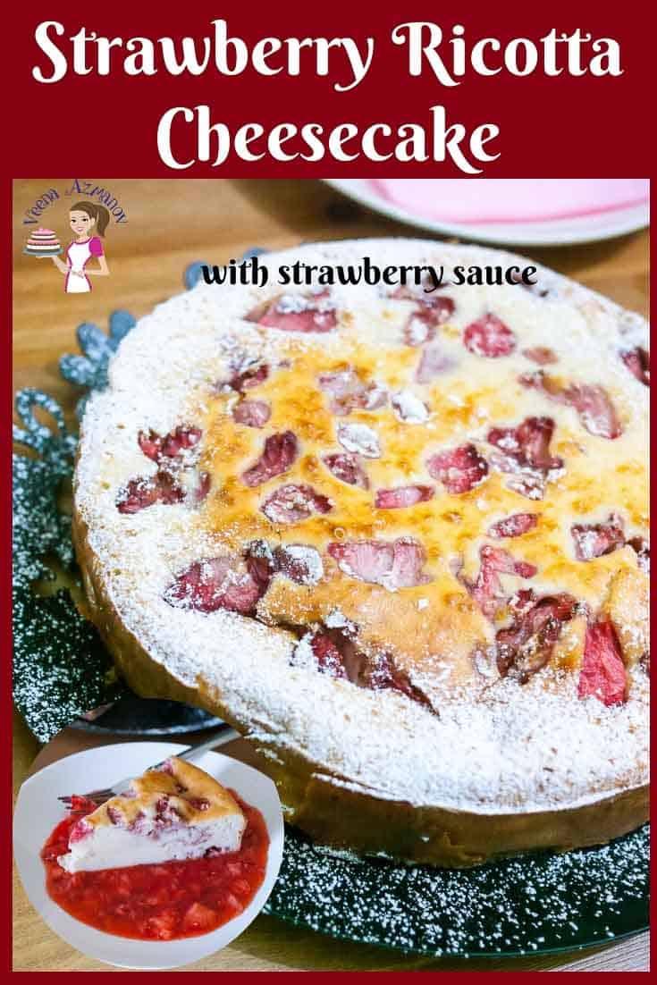 Strawberry, Cheesecake, Crustless, Ricotta, #homemade, #healthy #sauce
