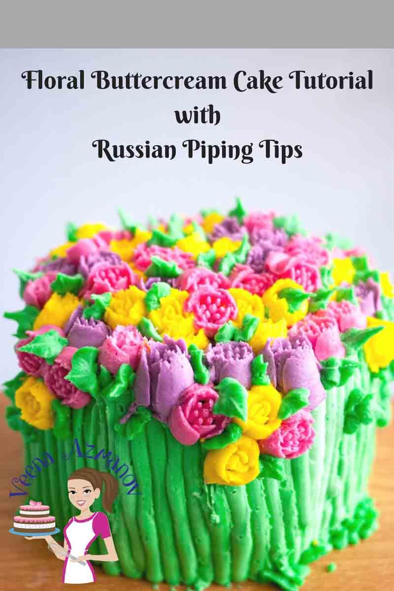 A floral theme buttercream cake.