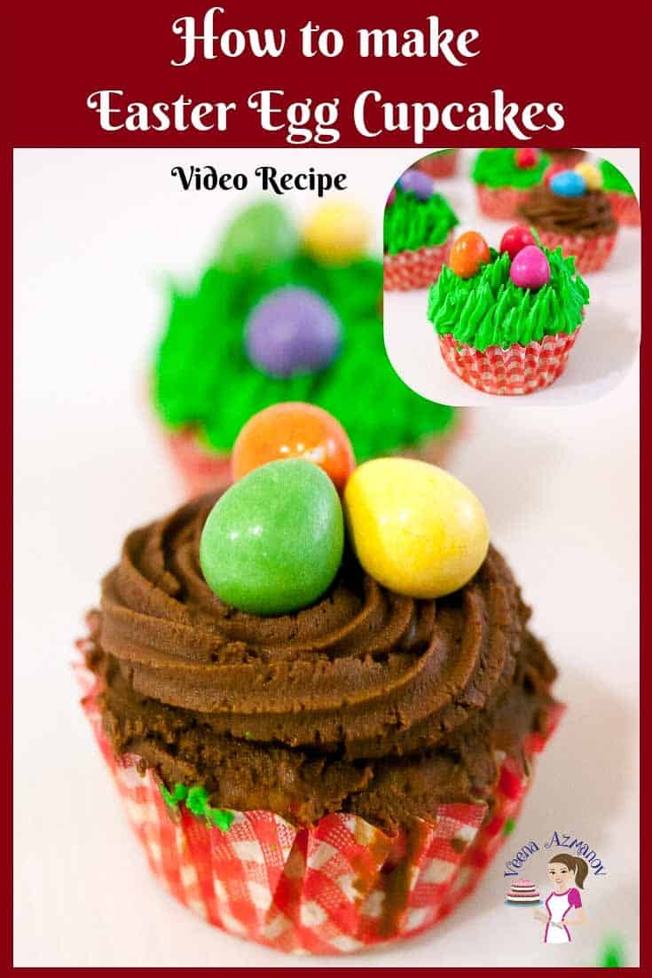 Celebrate Easter this festive season with these Easter Egg Cupcakes. Carrot cupcakes topped with candy eggs piped over grass or nests #Easter #carrot #cupcakes #eggs #candy via @Veenaazmanov