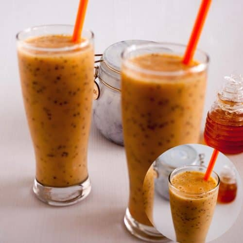 Two glasses with mango smoothie