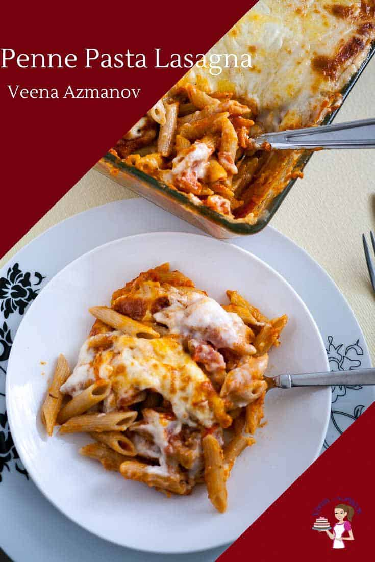 This quick and easy penne pasta lasagna is lasagna made simple. If you wondering why it's so creamy it's because it has both tomato sauce and bechamel sauce plus three different kinds of cheese. Baked into this gorgeous creamy cheesy melting pot of flavors. This is a vegetarian version but you could totally add ground beef to the tomato sauce. #pastalasagna #pennelasagna #cheesylasagna #quicklasagna #howtolasagna #lazylasagna via @Veenaazmanov