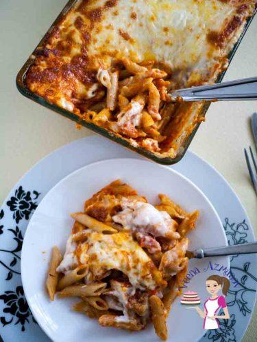 Penne lasagna on a plate.