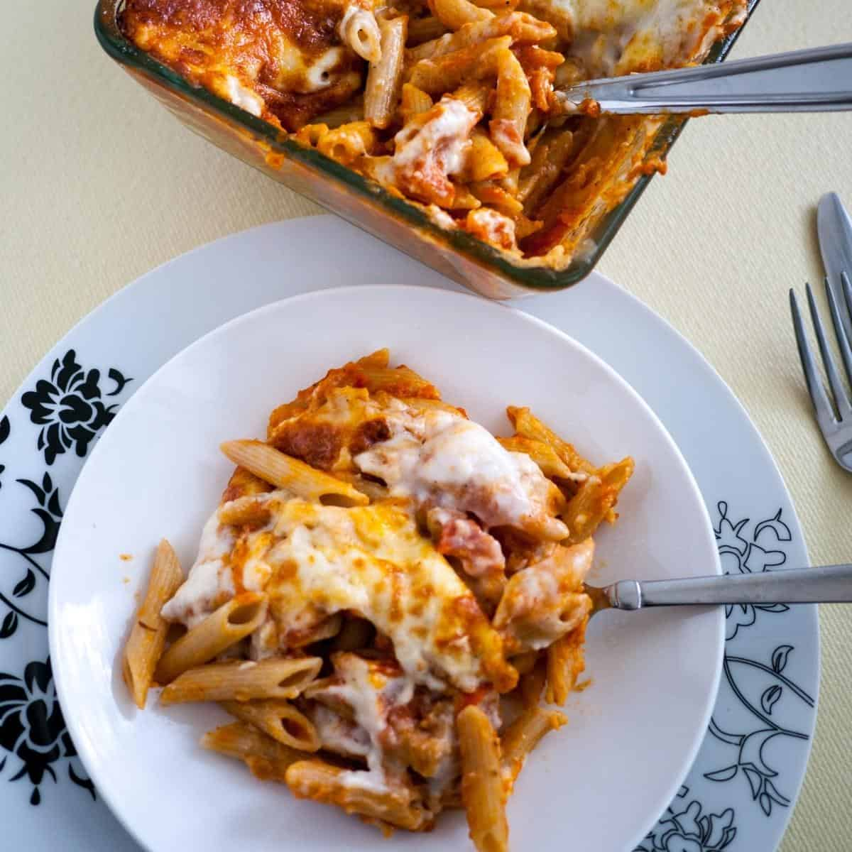 Penne lasagna on a plate.