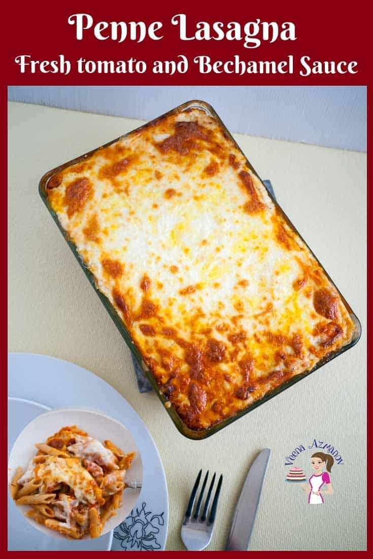 This quick and easy penne pasta lasagna is lasagna made simple. If you wondering why it's so creamy it's because it has both tomato sauce and bechamel sauce plus three different kinds of cheese. Baked into this gorgeous creamy cheesy melting pot of flavors. This is a vegetarian version but you could totally add ground beef to the tomato sauce. #pennelasagna #cheesylasagna #quicklasagna #howtolasagna #lazylasagna via @Veenaazmanov