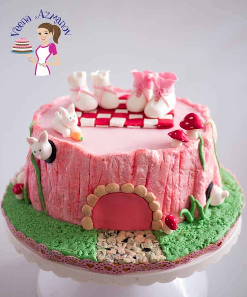 Fondant Tree Stump Cake Tutorial – Pink Baby Shower Cake