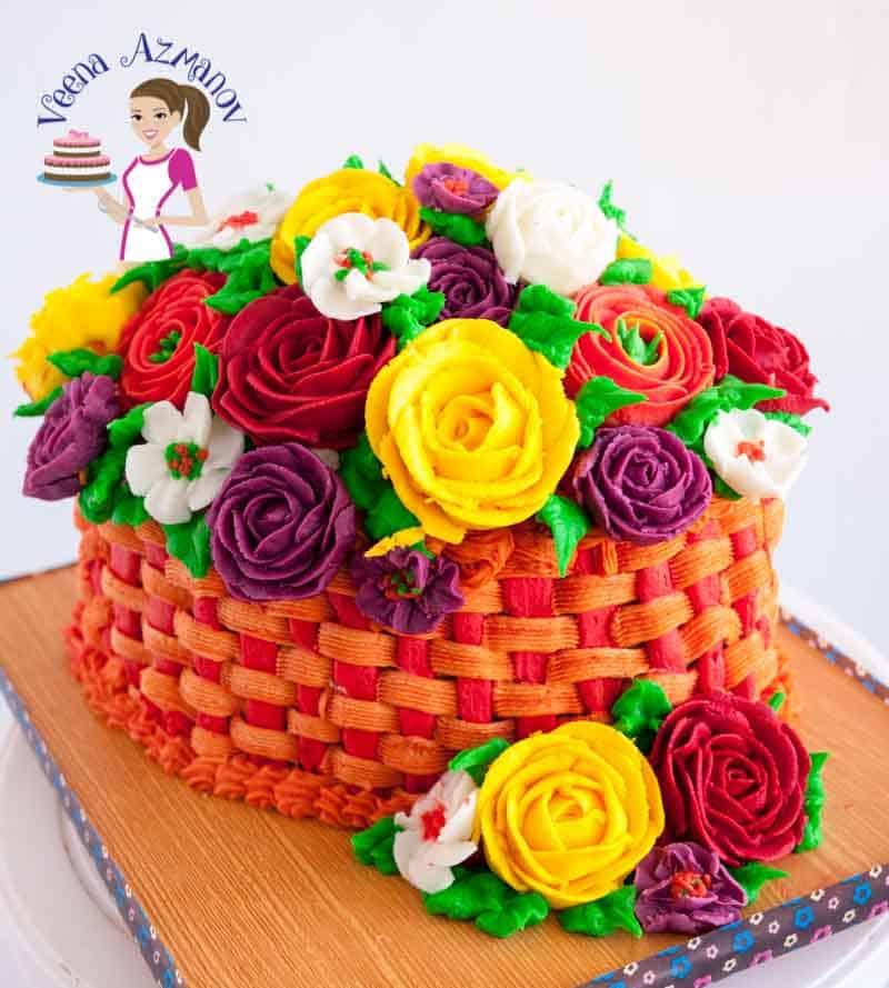 Flower Basket Mothers Day Cake : Spring buttercream basket of flowers cake veena azmanov