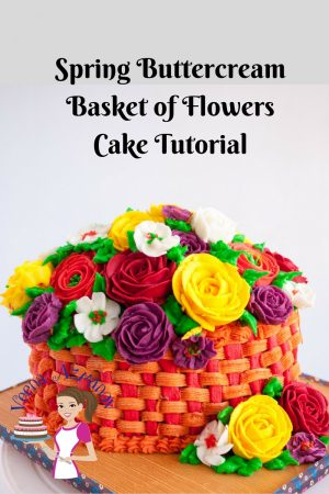 Spring Buttercream Basket of Flowers Cake