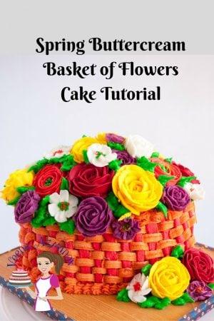 Spring Buttercream Basket of Flowers Cake