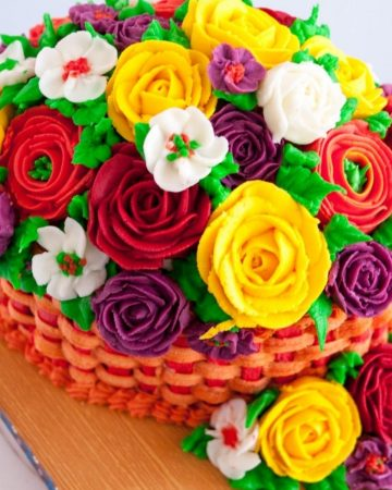 Top view of the buttercream flowers piped with this buttercream