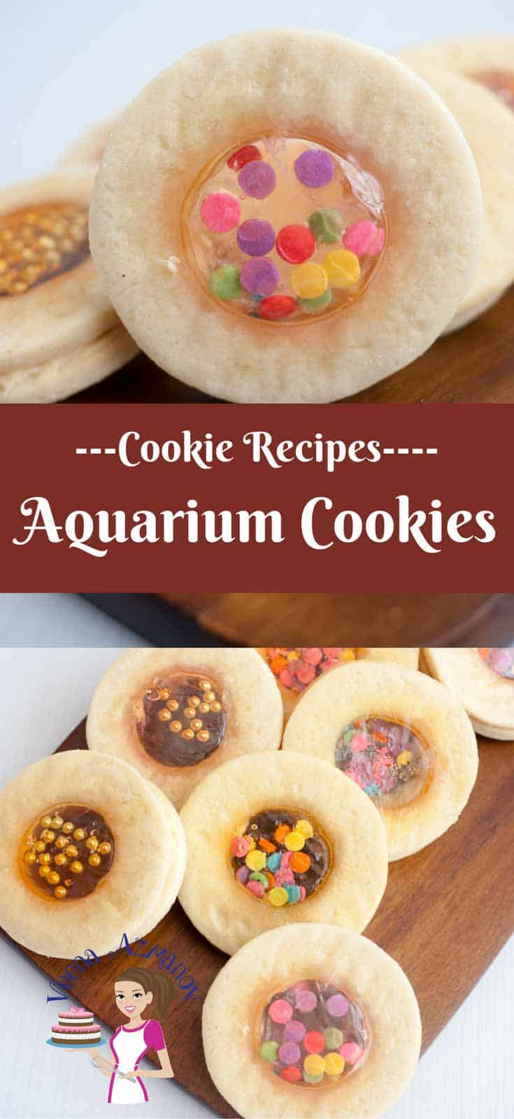 Aquarium cookies on a wooden board.