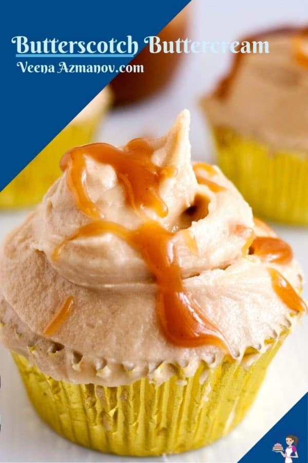 Pinterest image for Butterscotch Frosting.